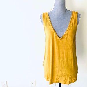 Project social t yellow deep v neck shirt medium